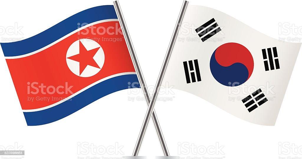 Corea Del Norte Y Banderas De Corea Del Sur Vector