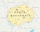North Macedonia political map with capital Skopje, borders, important cities, rivers and lakes. Former Yugoslav Republic of Macedonia, renamed in February 2019. English labeling. Illustration. Vector.