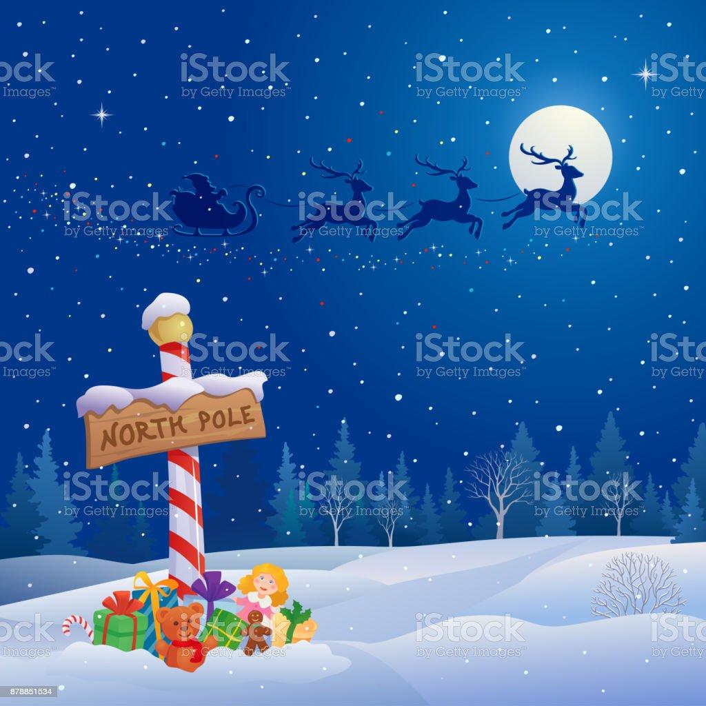 North pole and Santa sleigh vector art illustration