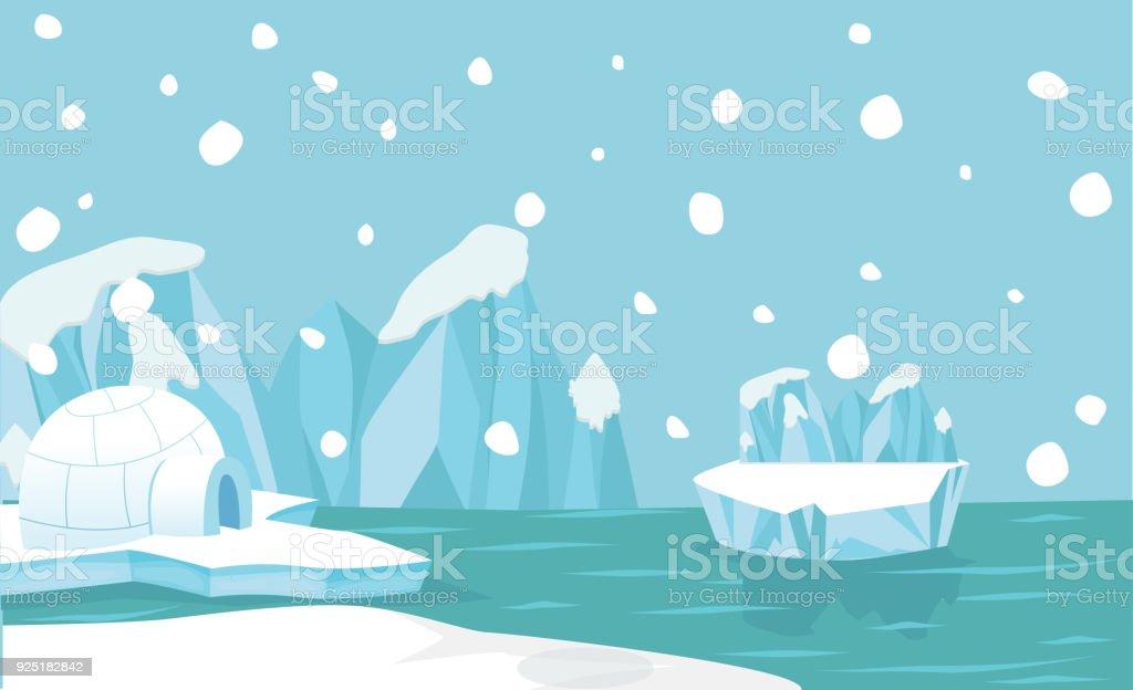 Fondo del paisaje Ártico Polo Norte - ilustración de arte vectorial