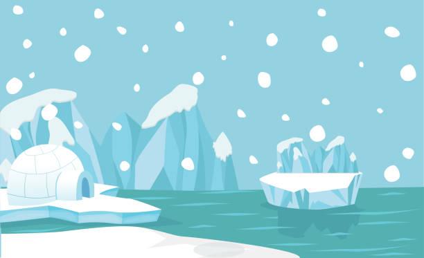 Nordpol arktischen Landschaft Hintergrund – Vektorgrafik