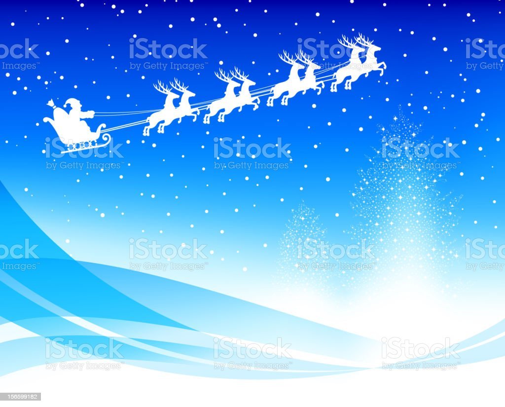 North Pole Christmas Card With Santa Sleigh Stock Vector Art & More ...