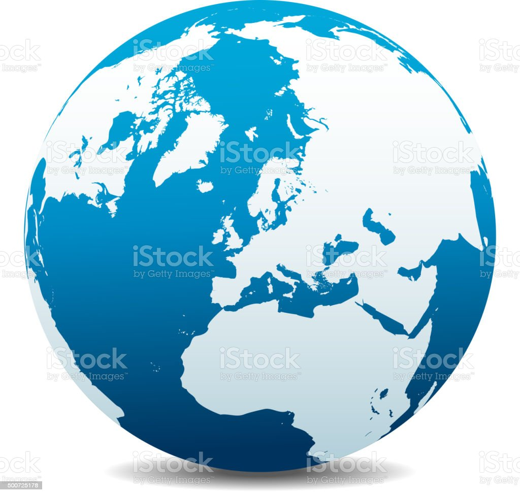 North Pole Europe Top of the World vector art illustration