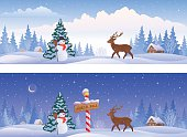 Vector illustration of Christmas landscapes with a North Pole sign, a snowman and a deer, panoramic banners.
