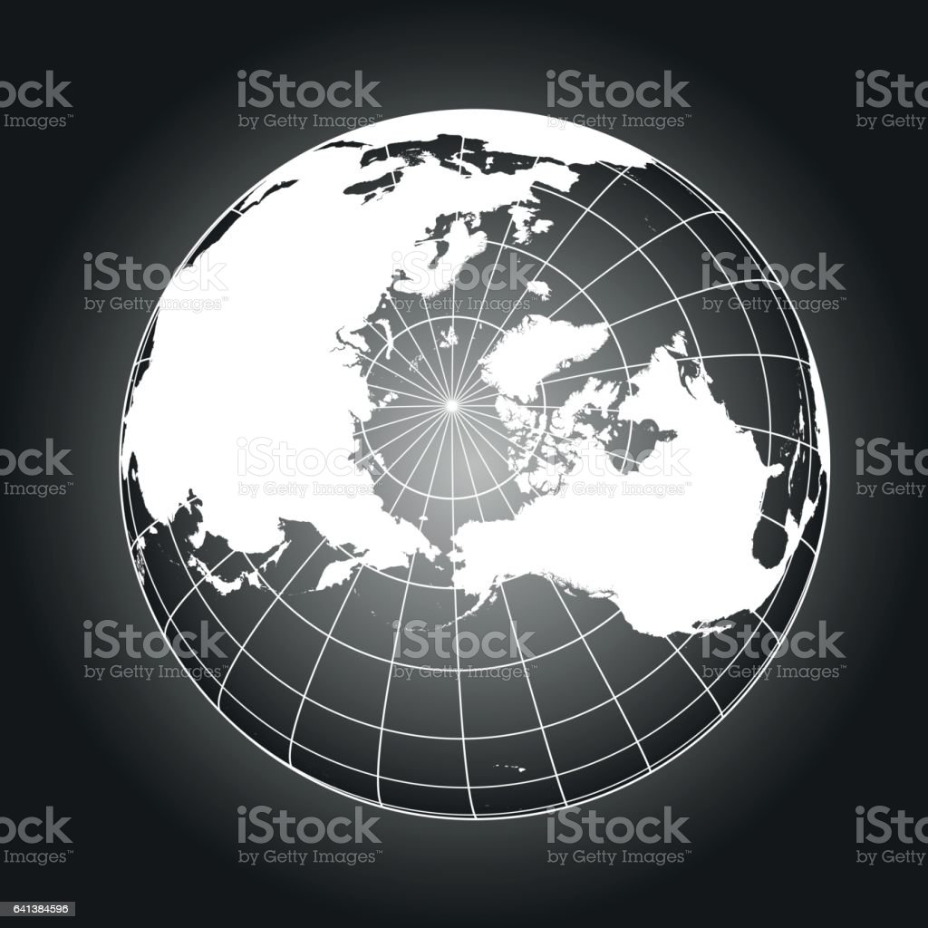 North Pole map in black and white vector art illustration