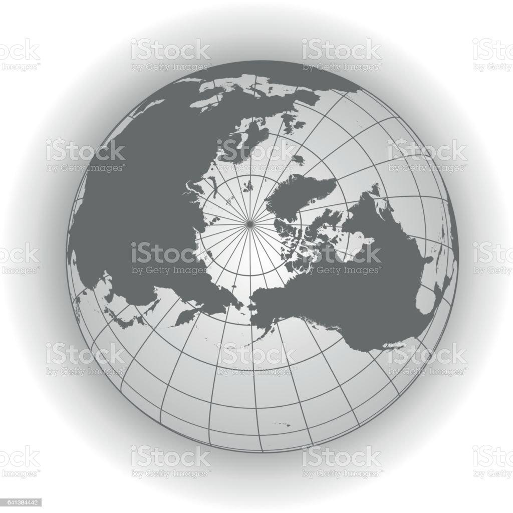 North Pole map in gray tones vector art illustration