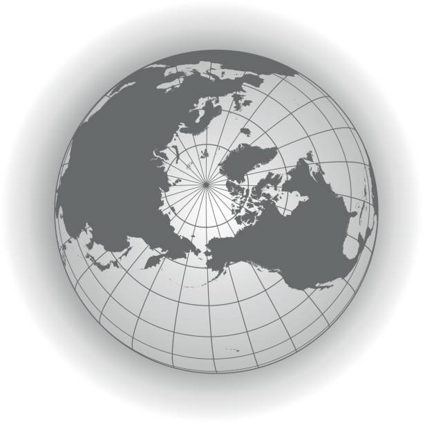 North Pole map in gray tones North Pole map. Europe, Greenland, Asia, America, Russia. Earth globe. Worldmap. Illustration has 3 layers:  North pole, sea, infinite space north pole stock illustrations