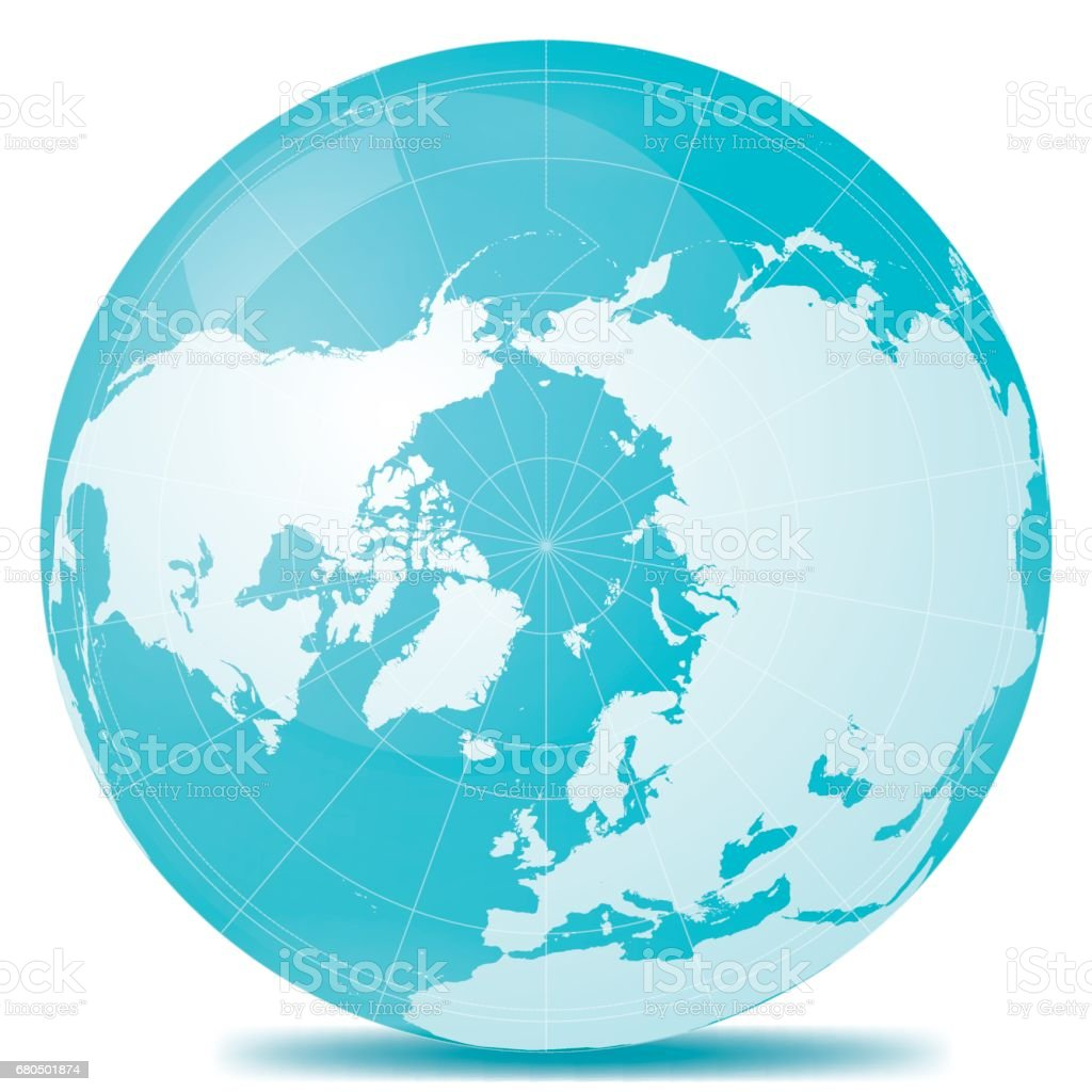 North Pole Planet Earth Blue White vector art illustration