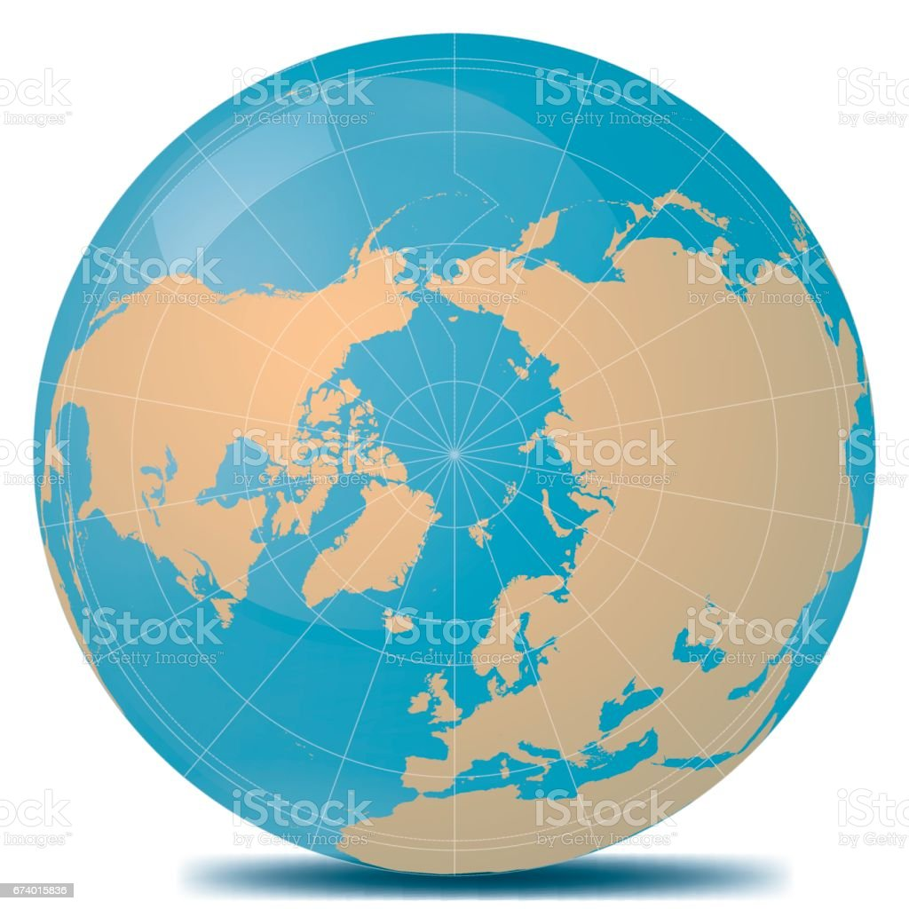 North Pole Planet Earth vector art illustration
