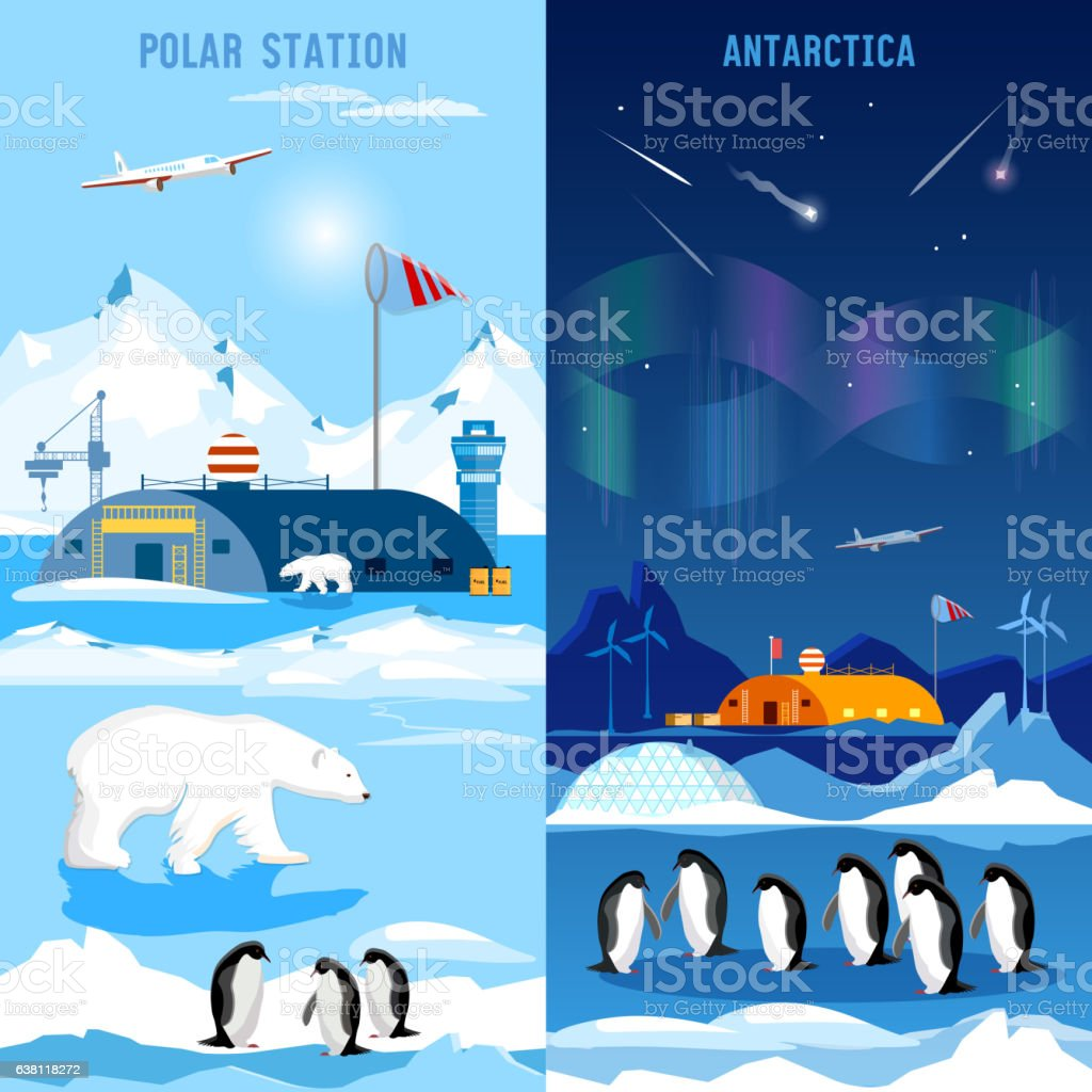 North Pole, polar station banners. Penguins, polar bears vector art illustration