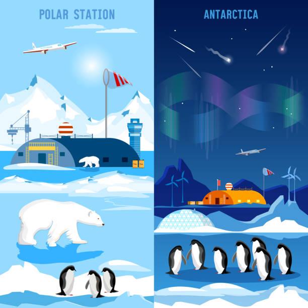 North Pole, polar station banners. Penguins, polar bears – Vektorgrafik