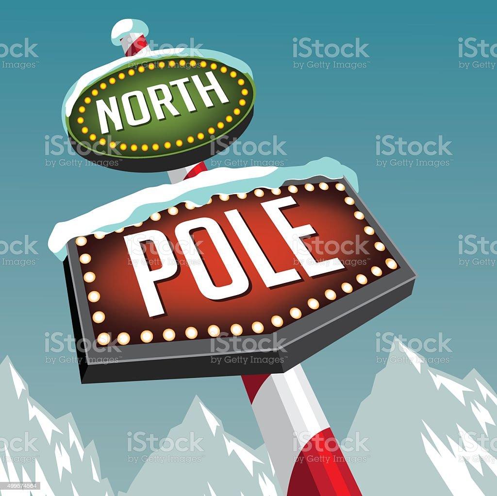 North Pole et rétro signe de chapiteau de neige des glaciers - Illustration vectorielle