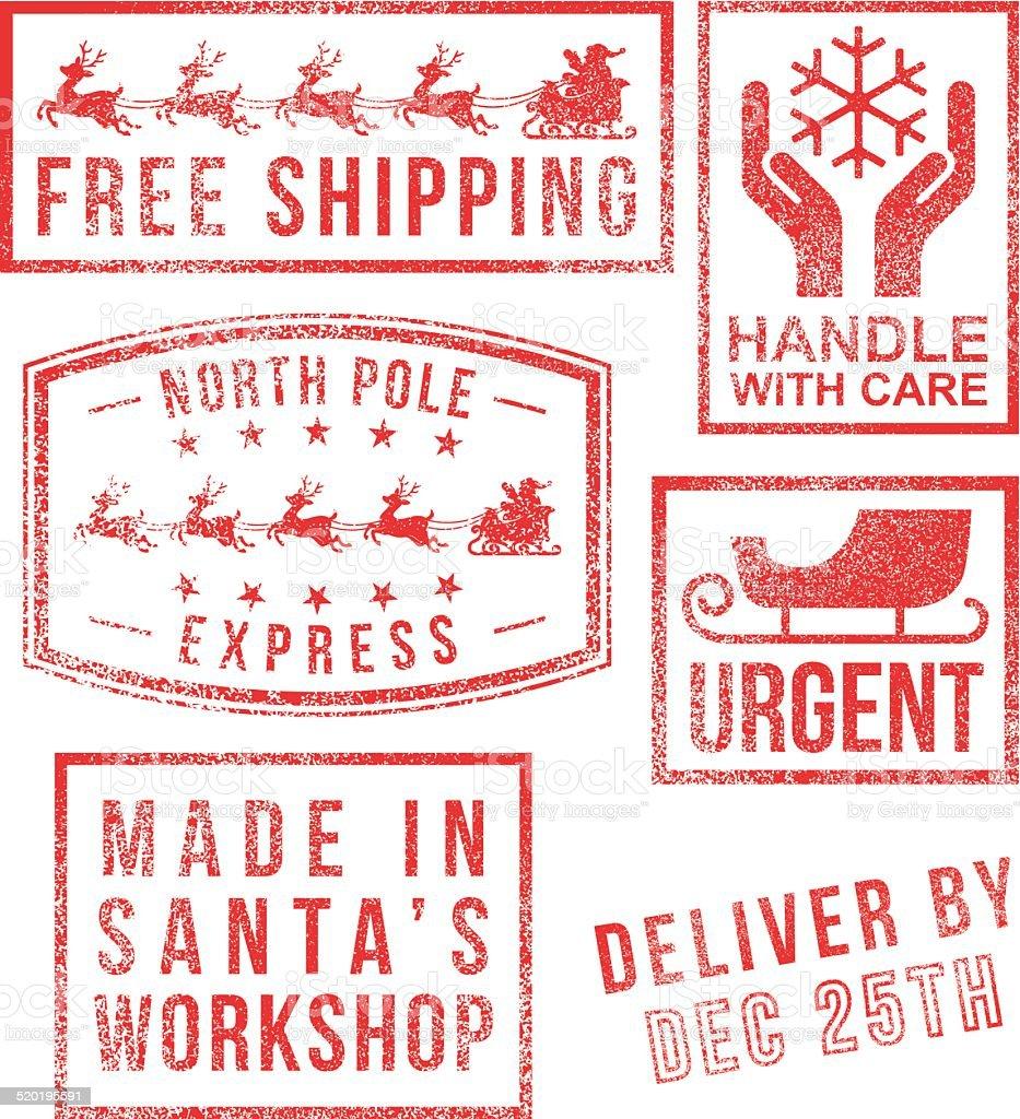 North Pole - Santa's christmas rubber stamps vector art illustration