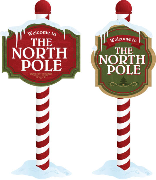 North pole sign variety set on white background Vector illustration of two 'Welcome to the North Pole' signs on white. Signs feature red, green colors primarily and candy cane stripe pole. Download includes Illustrator 10 eps with transparencies, high resolution jpg and png file. north pole stock illustrations