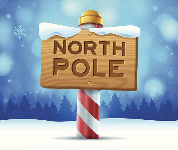 North Pole Sign North pole sign. EPS 10 file. Transparency effects used on highlight elements. north pole stock illustrations