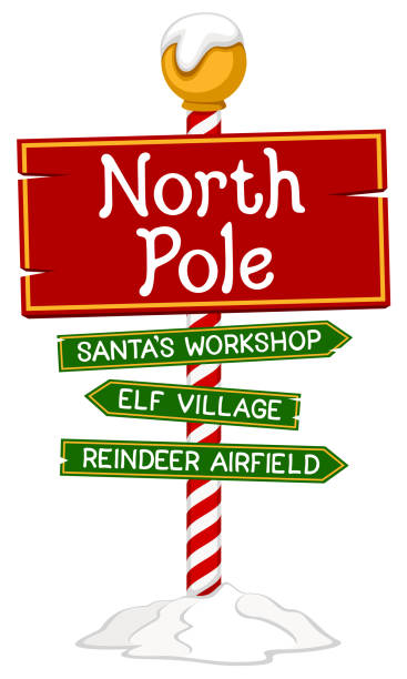 North Pole Sign Vector illustration of a holiday sign for the North Pole. Illustration uses no gradients, meshes or blends, only solid color. Includes AI10-compatible .eps format, along with a high-res .jpg. north pole stock illustrations