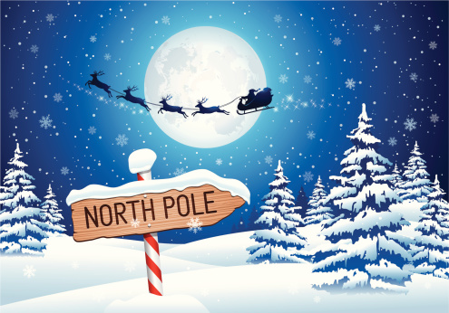 North Pole Sign with Santa Clause