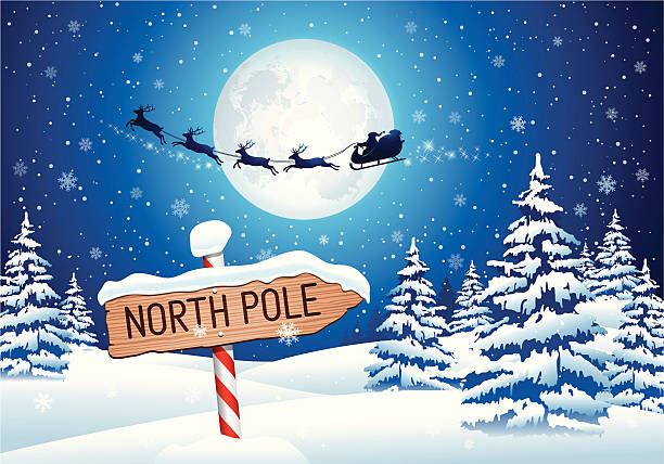 North Pole Sign with Santa Clause Vector illustration of North Pole sign with Santa's sleigh. Hi-res jpg included (5578x3900px) and EPS-8 file. north pole stock illustrations