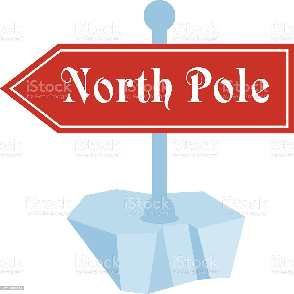 north pole travel sign vector art illustration