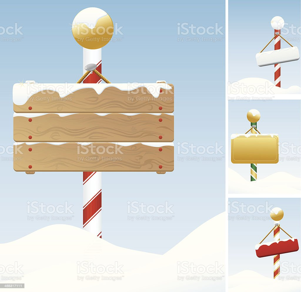 North Pole, Winter, Christmas Signs Covered in Snow; Set vector art illustration