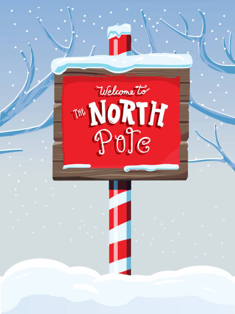 North Pole wooden winter sign with handwriting or hand lettered text Vector illustration of a North Pole wooden winter sign with handwriting or hand lettered text. north pole stock illustrations