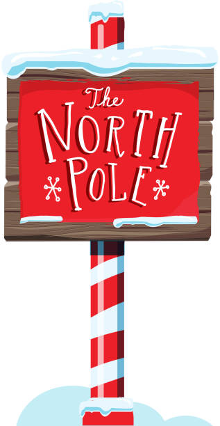 North Pole wooden winter sign with handwriting or hand lettered text Vector illustration of a North Pole wooden winter sign with handwriting or hand lettered text. On white background north pole stock illustrations