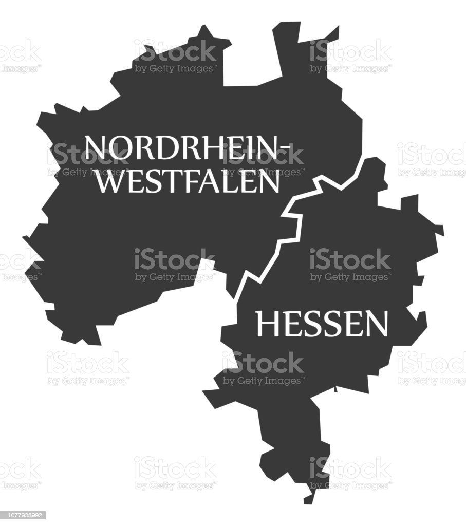 North Rhine Westphalia Hesse Federal States Map Of Germany Black ...