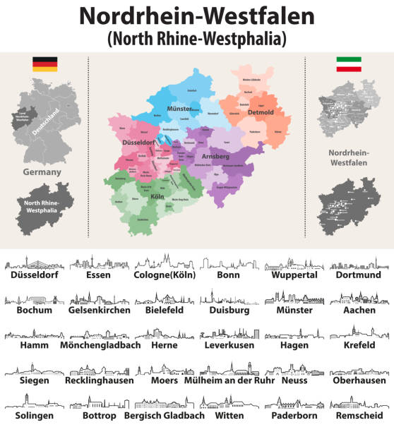 North Rhine-Westphalia (metropolitan region of Germany) high dtailed vector map and outline icons of major cities skylines North Rhine-Westphalia (metropolitan region of Germany) high dtailed vector map and outline icons of major cities skylines lachen stock illustrations