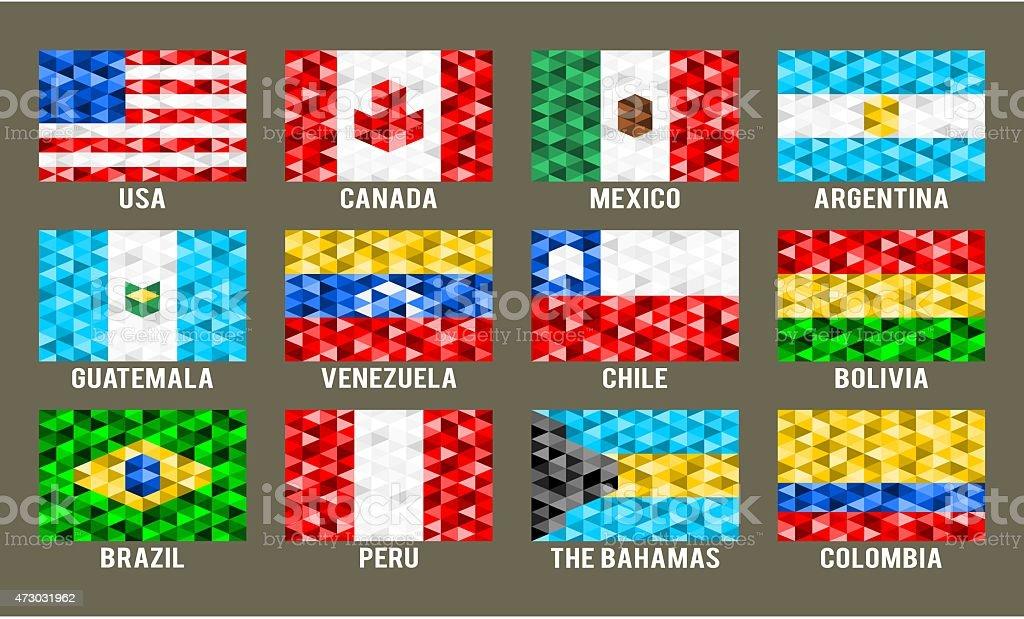 North & Sudamérica horizontal flags - ilustración de arte vectorial