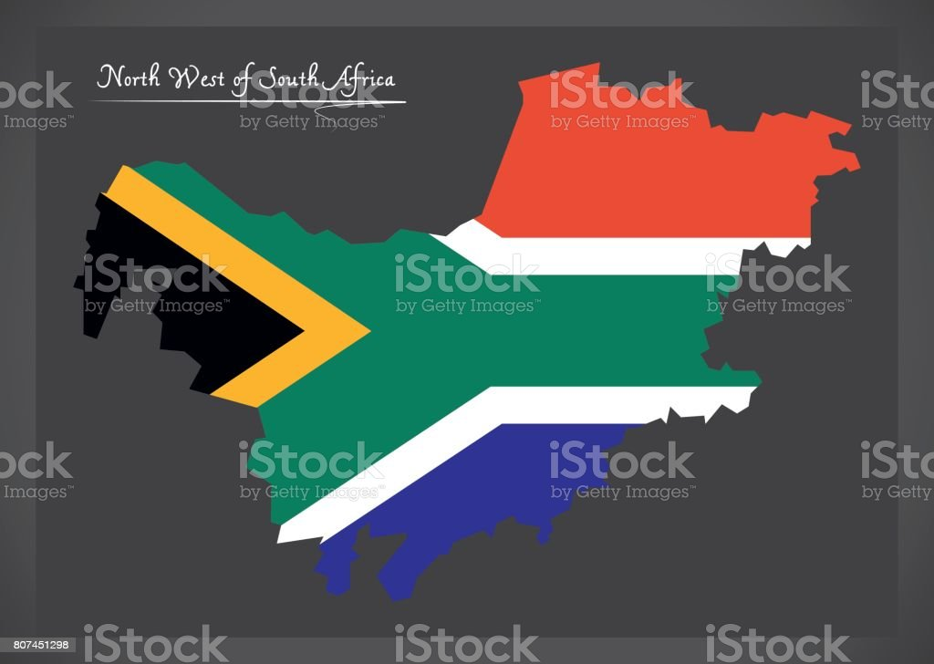 South Africa North West Map.North West South Africa Map With National Flag Illustration