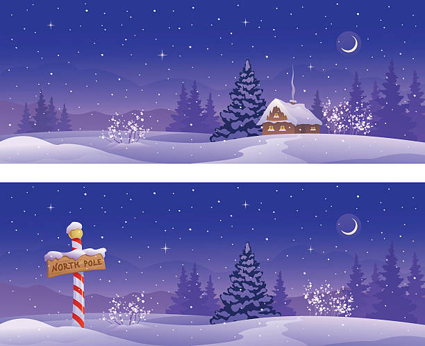 North winter banners Vector illustration of Christmas night banners with a North Pole sign and snow covered house. north pole stock illustrations