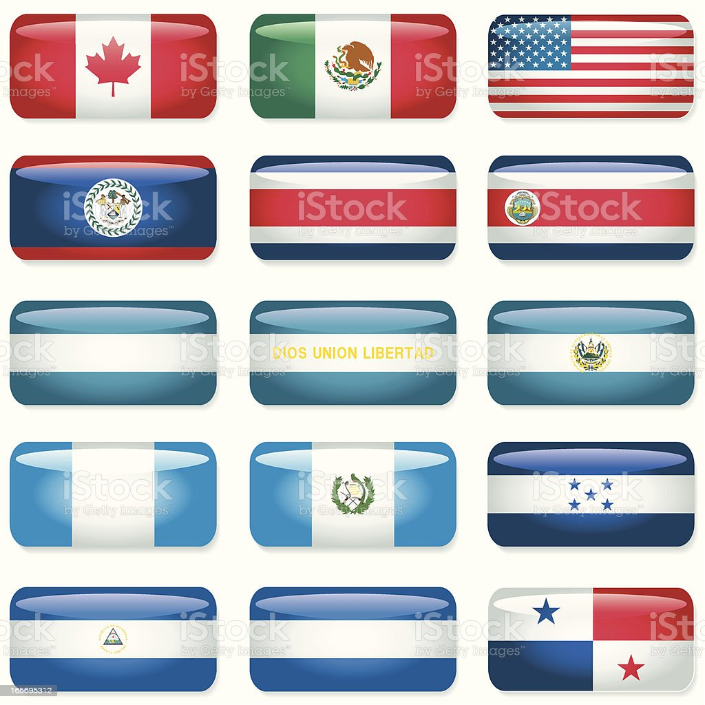 Northern and Central America Rectangular Flags royalty-free stock vector art