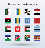 Northern and Southern Africa Square Flags Collection