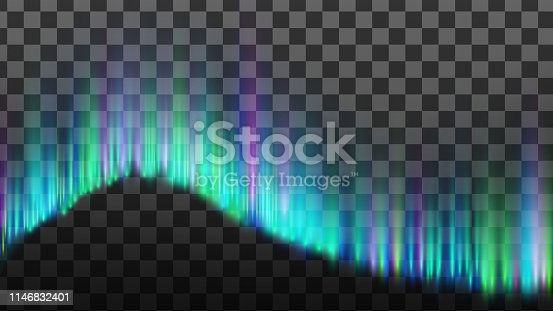 Northern Aurora Lights Strips Borealis Vector. Realistic Bright Colorful Composition Lights Magnetosphere Caused By Solar Wind Isolated On Transparency Grid Background. 3d Illustration