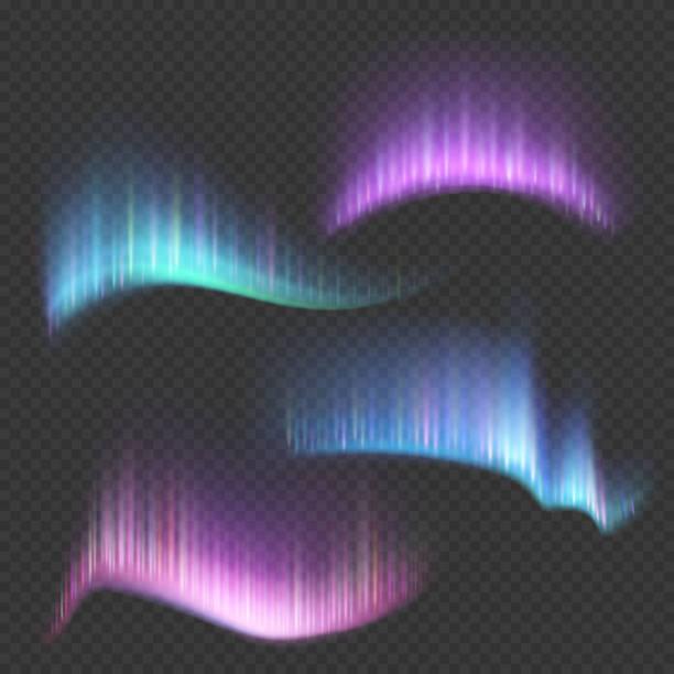 illustrazioni stock, clip art, cartoni animati e icone di tendenza di northern aurora lights strips isolated on transparent background - aurora boreale