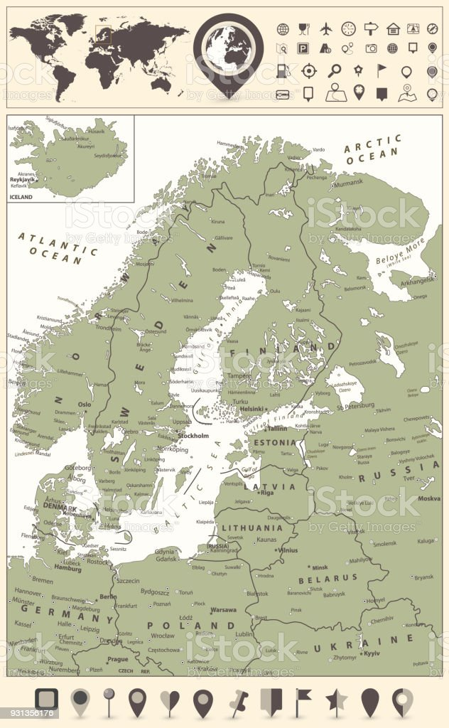 northern europe map and world map with navigation icons royalty free northern europe map and