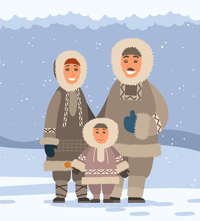 Northern family in traditional fur clothes. Chukchee, polar peoples. Harsh winter, snow, cold