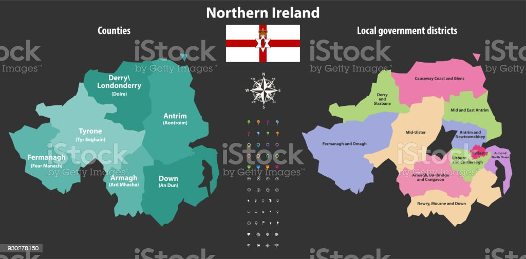 Map Of Northern Ireland Counties.Northern Ireland Counties And Local Government Districts Vector Map