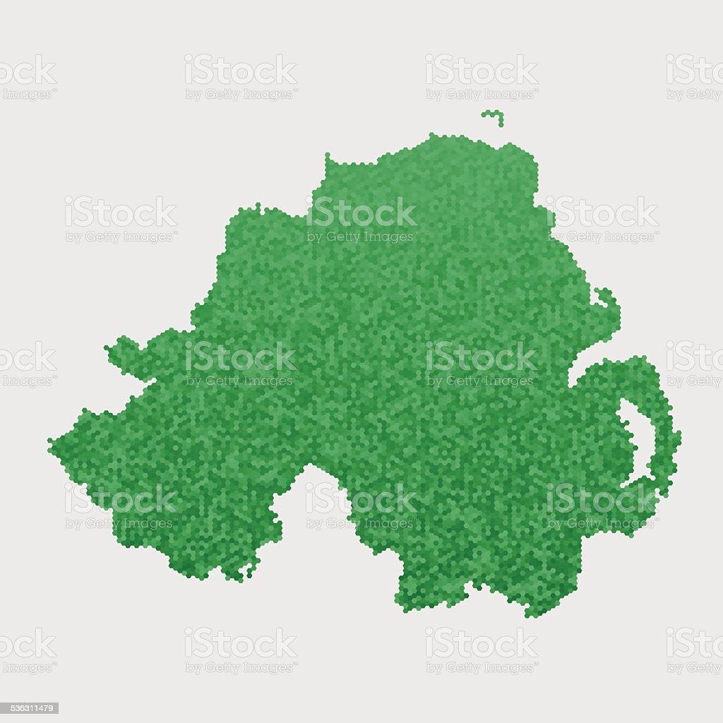 Northern Ireland Map Green Hexagon Pattern vector art illustration