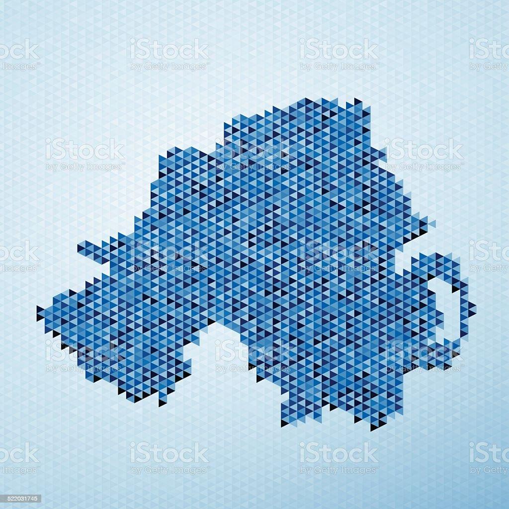 Northern Ireland Map Triangle Pattern Blue vector art illustration