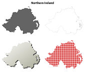 Northern Ireland outline map set