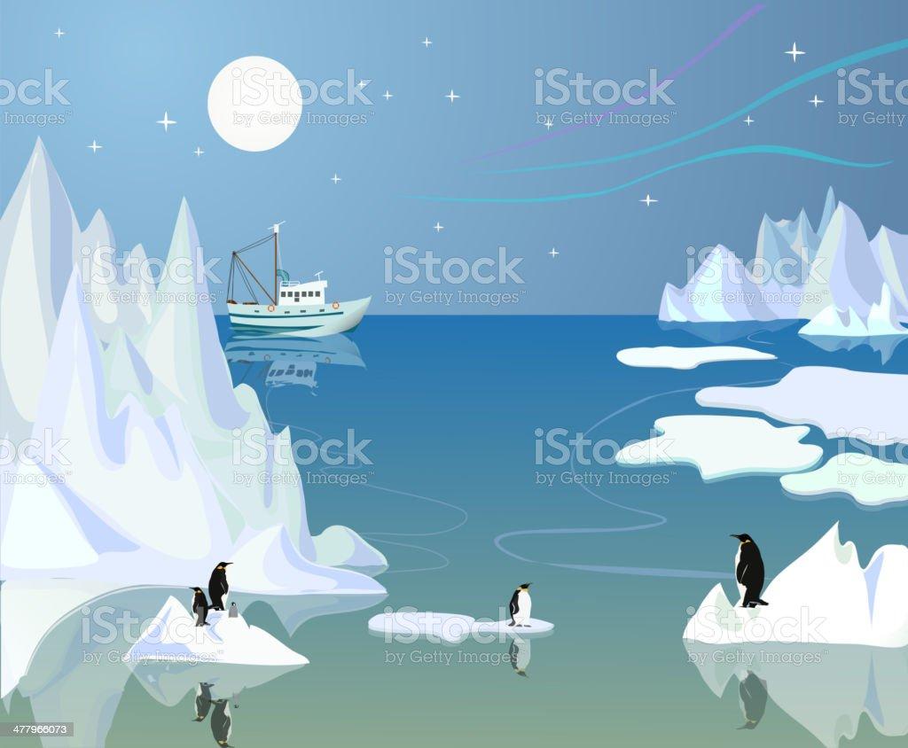 Northern landscape vector art illustration