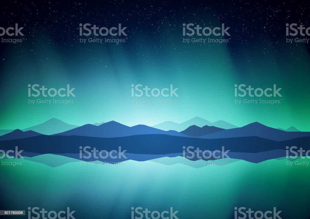 Northern landscape with Aurora, lake and mountains on the horizon. vector art illustration