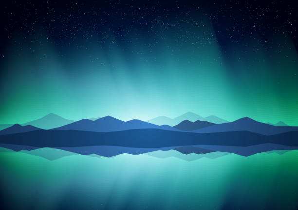 northern landscape with aurora, lake and mountains on the horizon. - antarctica travel stock illustrations