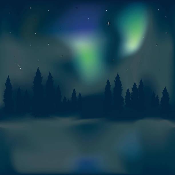 Norte de luz Aurora boreal - ilustração de arte em vetor