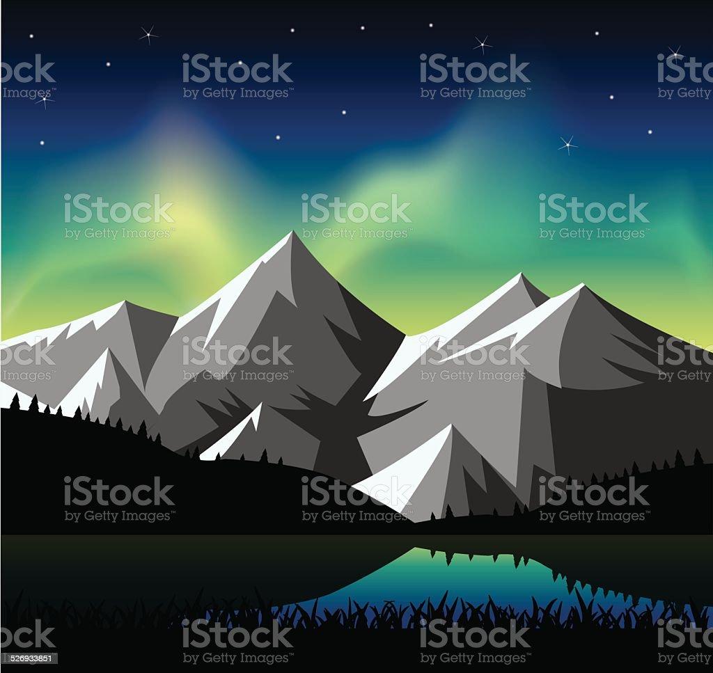 Norte de luz brilhante sobre as montanhas nevadas - ilustração de arte em vetor