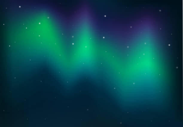 illustrazioni stock, clip art, cartoni animati e icone di tendenza di northern light in the dark night - aurora boreale