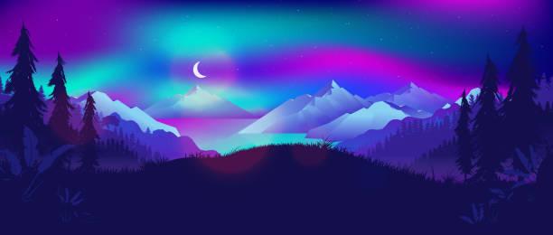 illustrazioni stock, clip art, cartoni animati e icone di tendenza di northern lights at night landscape. view from forest to a fjord with mountains and sea. - fiordi