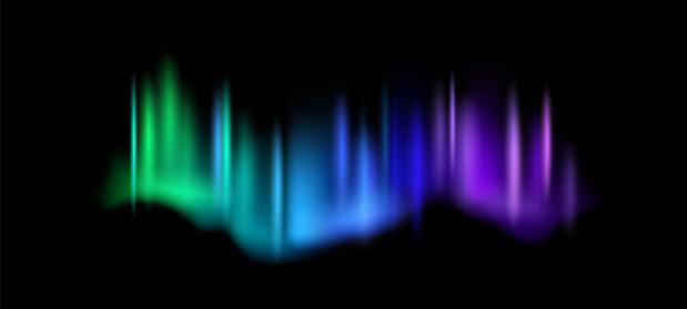 Northern lights. Aurora borealis amazing polar lights on night sky, magic luminescence vibrant arctic effect, green blue and purple gradient polar space shine vector abstract realistic illustration