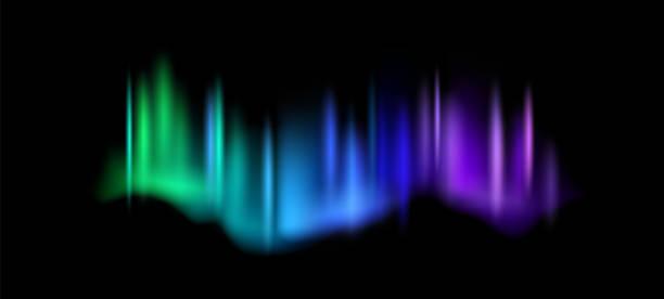 bildbanksillustrationer, clip art samt tecknat material och ikoner med norrsken. aurora borealis fantastiska polarljus på natthimlen, magiska luminegelskas effekt, grön och lila gradient polar rymd lysa vektor abstrakt realistisk illustration - northern lights